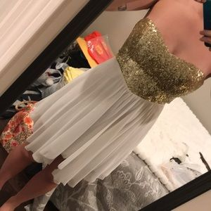 Sequins flowy high-low formal dress